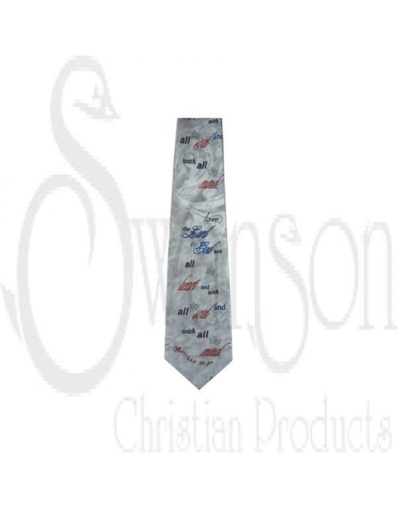 57 POLY LOVE GOD HEART, SOUL, AND MIND SILVER TIE