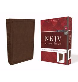 NKJV Study Bible (Comfort Print)-Mahogany Leathersoft