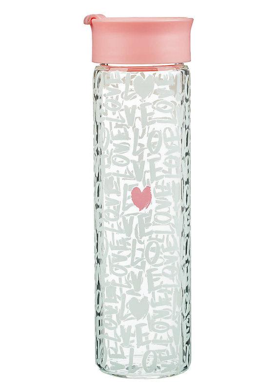 Love - Glass Water Bottle