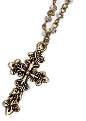 Vintage Ornate Cross with Crystal Necklace