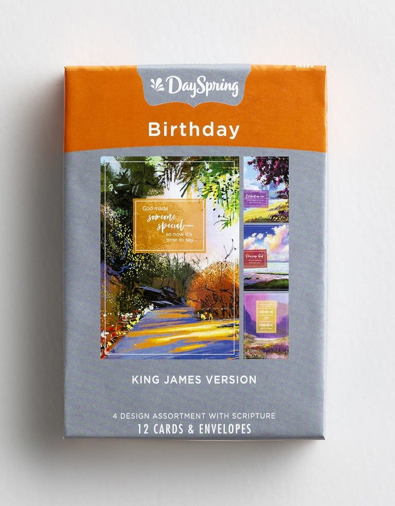 Birthday - Colorful Landscapes - 12 Boxed Cards, KJV