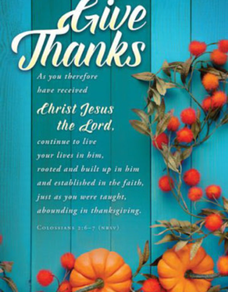 Bulletin-Give Thanks (Colossians 2:6-7, NRSV) (Pack Of 100)