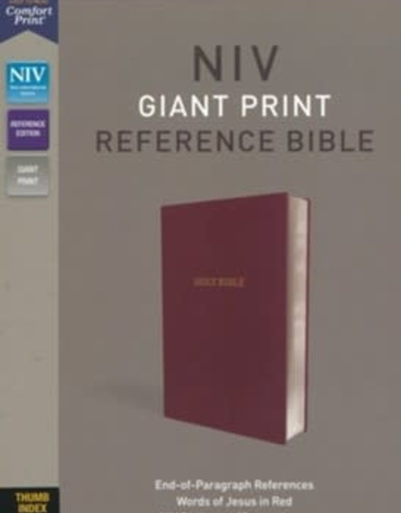 Zondervan NIV Giant Print Reference Bible (Comfort Print)-Burgundy Leather-Look Indexed
