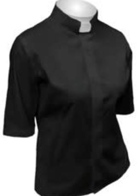 Women's Tab Collar Clergy Shirt Blk Short Sleeve SW-101 size 24