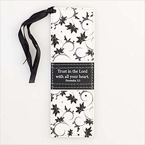 Pagemarker - Trust In The Lord- Black/White Leatherluxe Proverbs 3:5