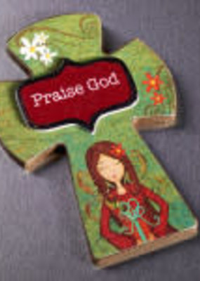 Cross Magnet - Praise God - Wooden