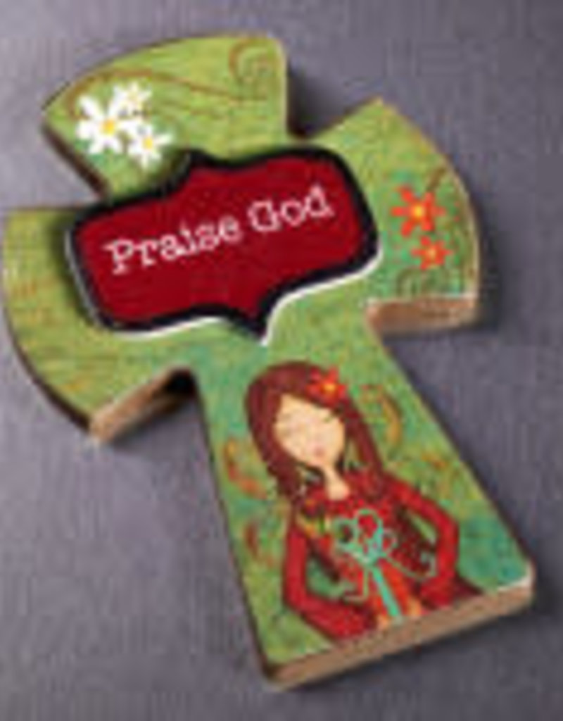 Cross Magnet - Praise God - Wooden