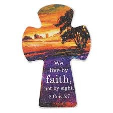Cross Magnet - We Live By Faith - Wooden