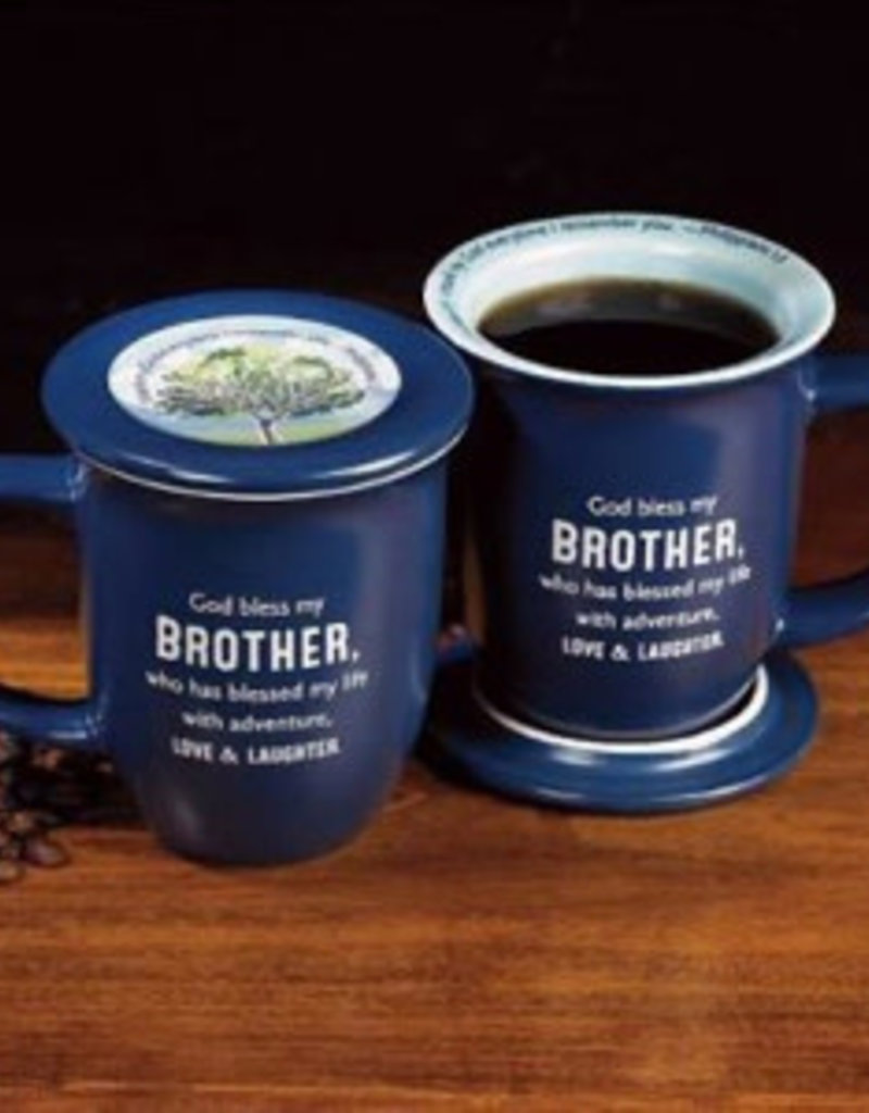 Mug-God Bless My Brother w/Coaster-Blue w/White Interior