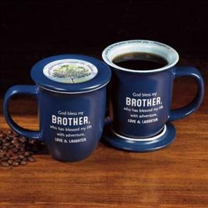 Mug-God Bless My Brother w/Coaster-Blue w/White Interior