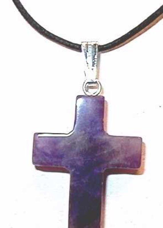 "Solid Rock Jewelry Necklace-Gemstone-Amethyst Cross-On 31"" Adjustable Black Cord"