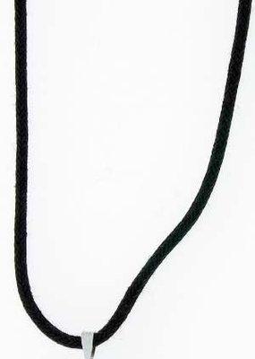 "Solid Rock Jewelry Pendant-Silver Hematine Malta Cross-31"" Adjustable Black Cord"