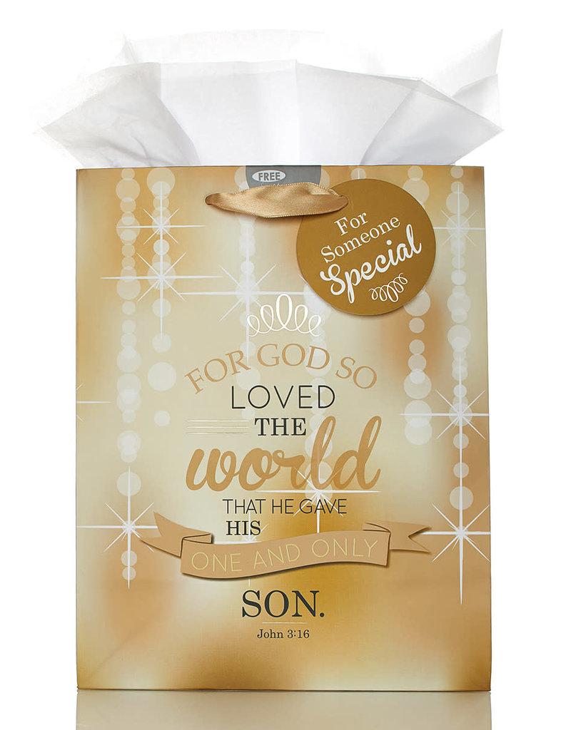 Medium Christmas Gift Bag: For God So Loved the world - Jn 3:16