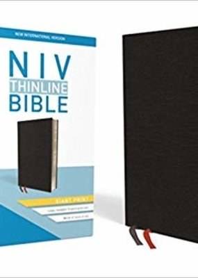 NIV, Thinline Bible, Giant Print, Bonded Leather, Black, Red Letter Edition, Comfort Print Bonded Leather – Large Print