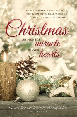Bulletin-Christmas Shines Its Miracle (Matthew 28:17, KJV) (Pack Of 100)