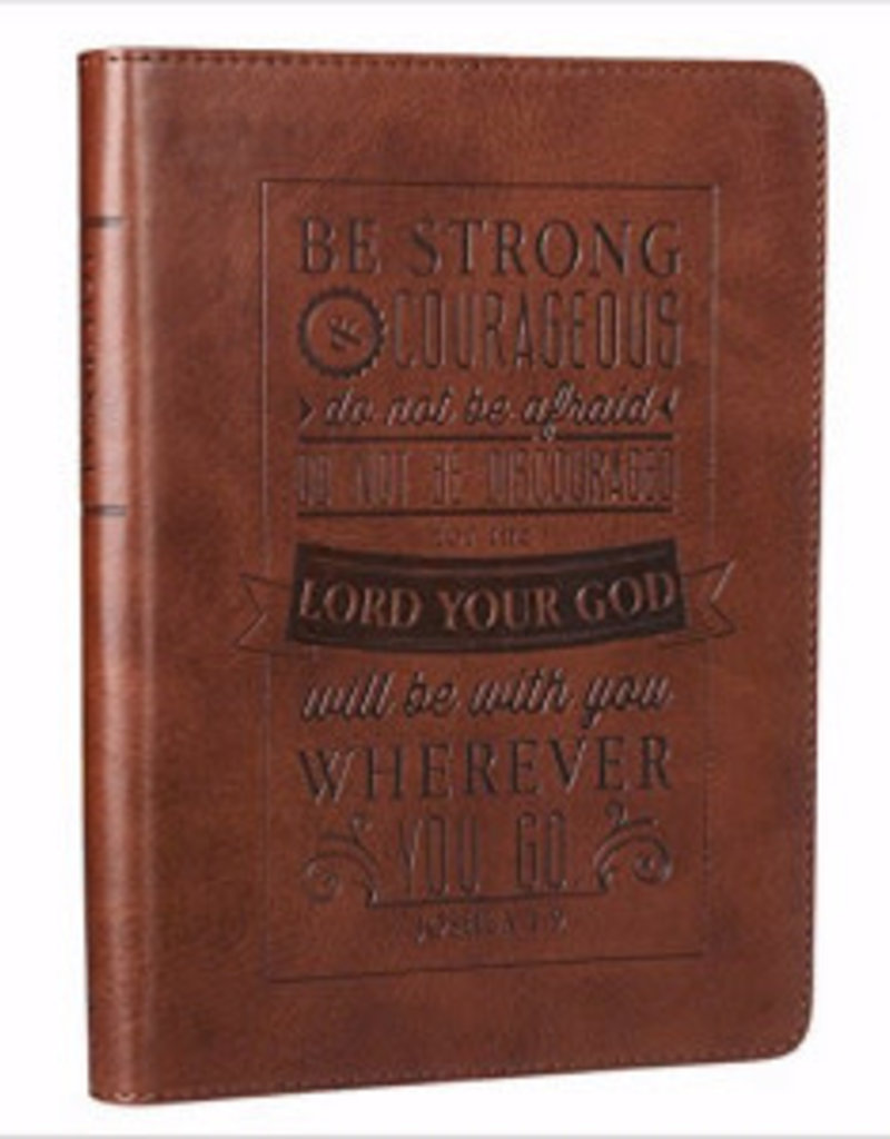 Journal-Be Strong And Courageous-Brown LuxLeather
