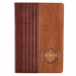 Journal-In Christ Alone-Brown/Tan LuxLeather Flexcover