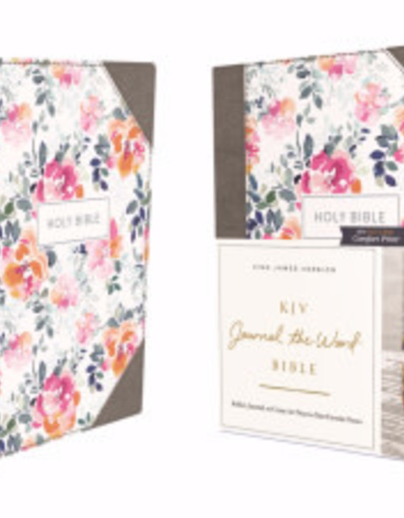 KJV Journal The Word Bible (Comfort Print)-Pink Floral Cloth Over Board