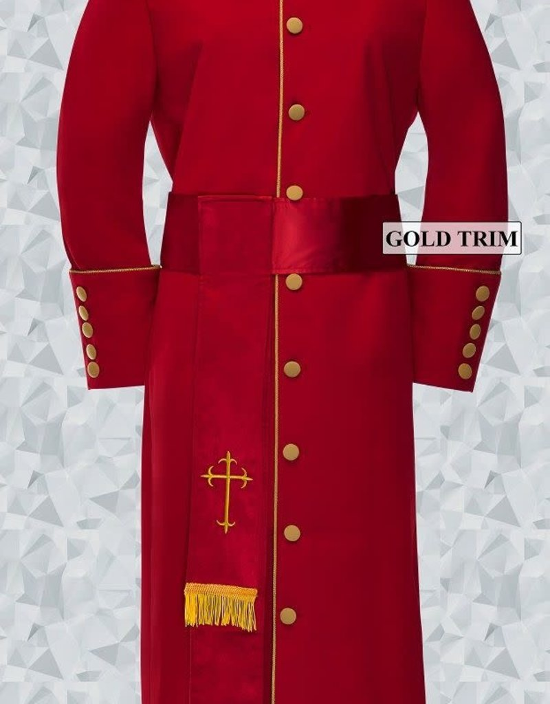 184 W. Women's Pastor/Clergy Robe - Red/Gold Cincture Set