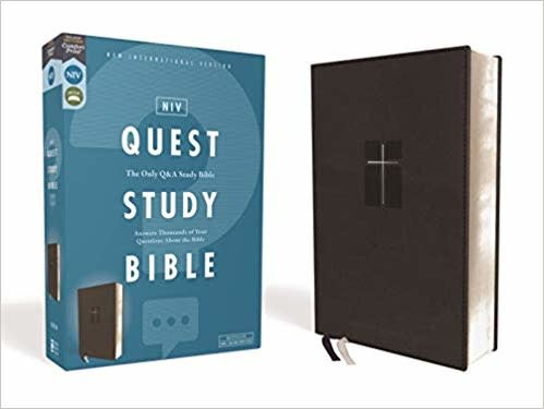 NIV, Quest Study Bible, Leathersoft, Black, Comfort Print: The Only Q and A Study Bible Imitation Leather