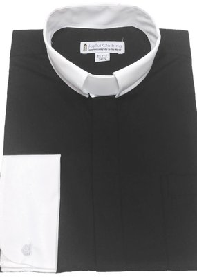 Joyful Clothing Men's Contrast Tab-Collar Clergy Shirt - (Black with White Collar) 15-15.5 34/35
