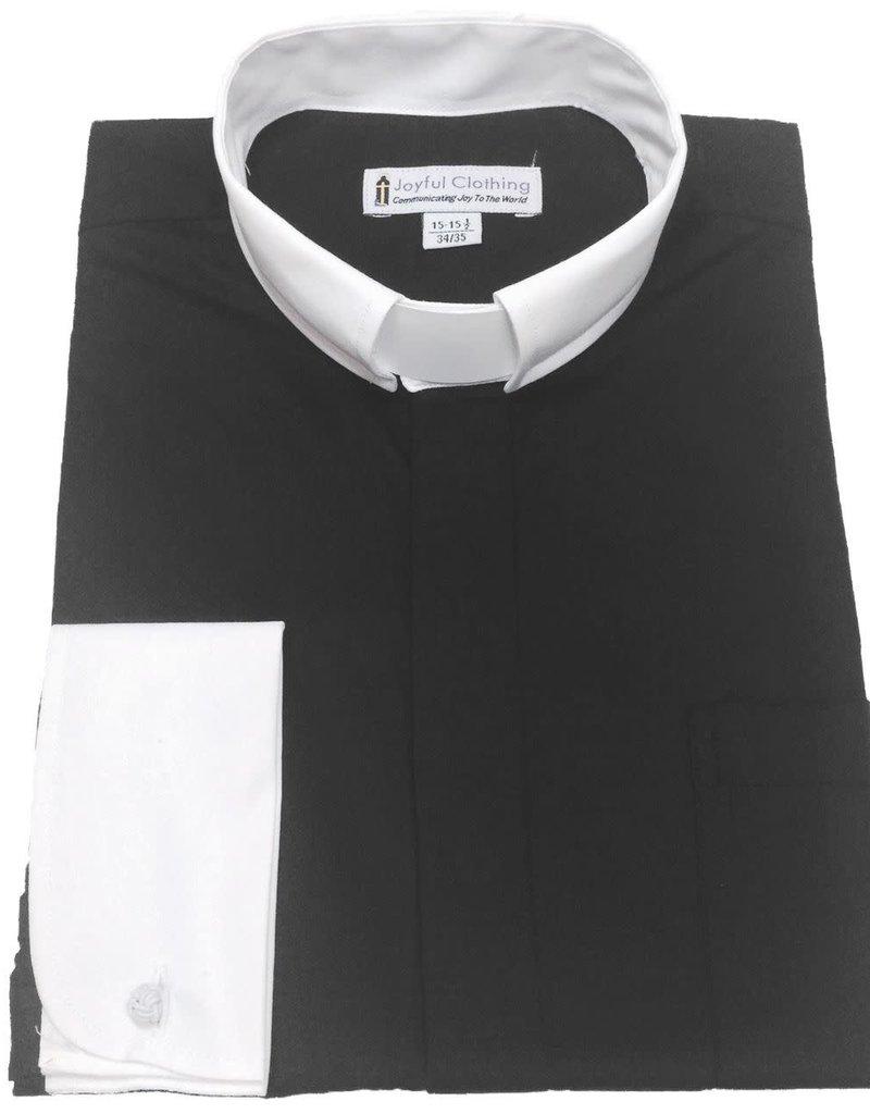 Joyful Clothing Men's Contrast Tab-Collar Clergy Shirt - (Black with White Collar) 15-15.5 34/35