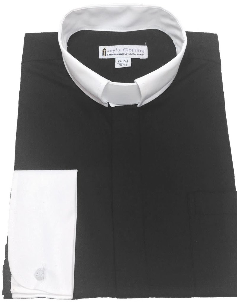 Men's Contrast Tab-Collar Clergy Shirt - (Black with White Collar) 15-15.5 34/35