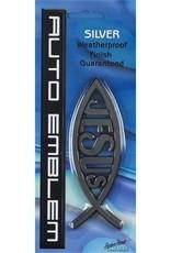 AUTO EMBLEM FISH/JESUS SILVER PLASTIC 5 X1.75 WEATHERPROOF FINISH