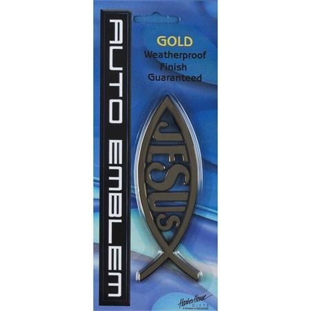 AUTO EMB FISH/JESUS GLD PLASTIC 5 X1.75