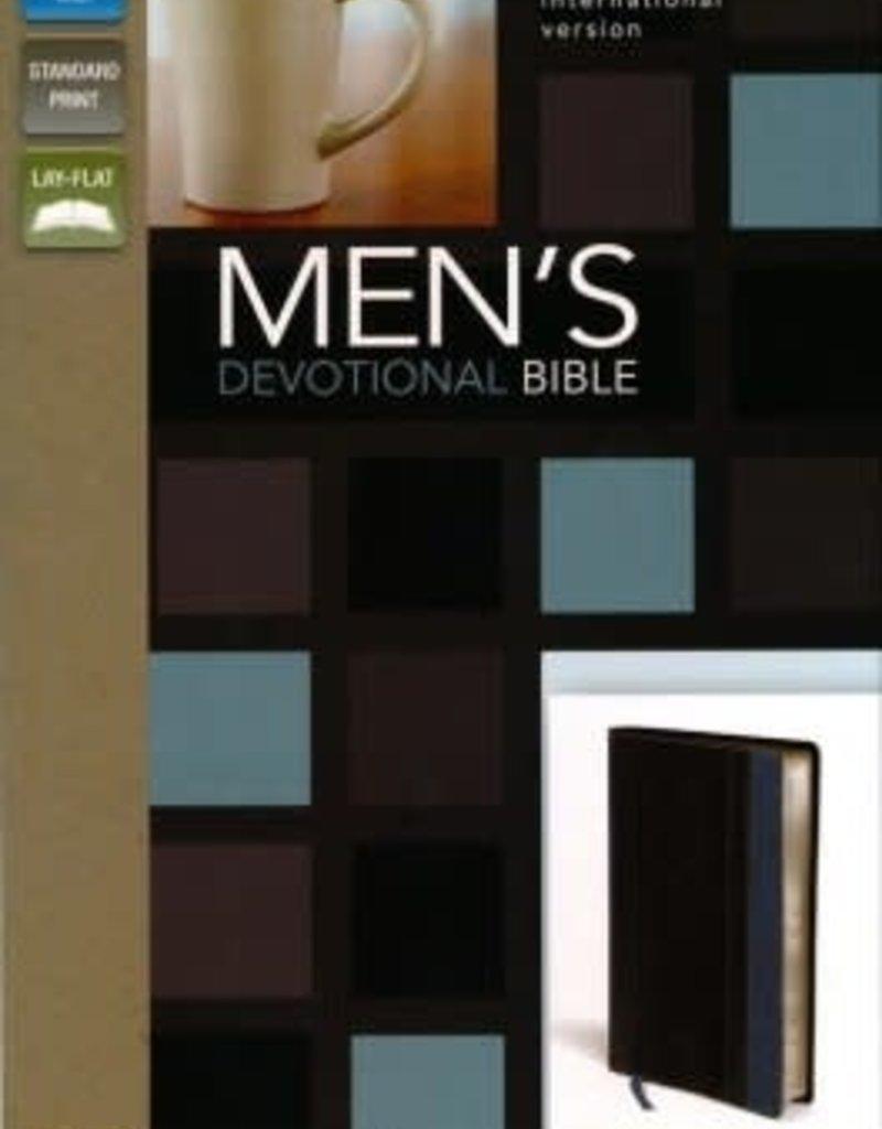 NIV Men's Devotional Bible, Italian Duo-Tone, Charcoal/Steel Blue