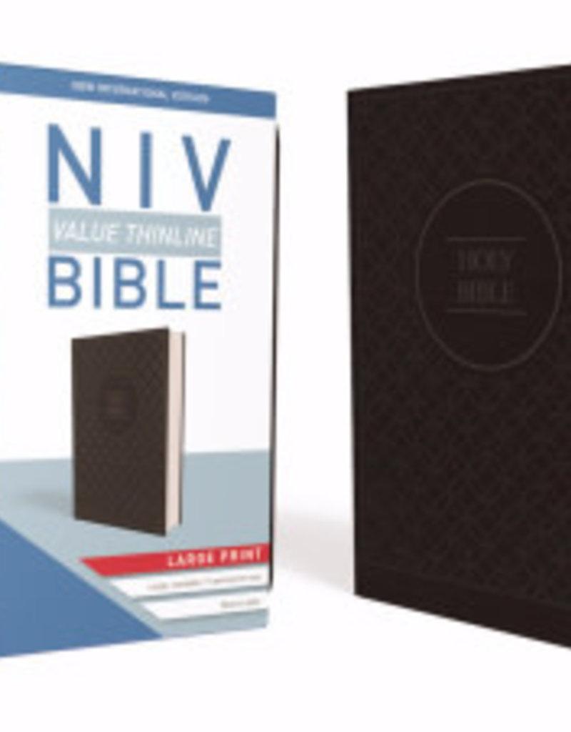 Zondervan NIV Value Thinline Bible/Large Print (Comfort Print)-Charcoal/Black Leathersoft