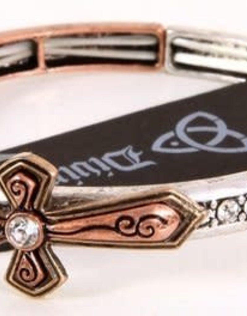 Jewelry: Cross Bracelet, Multi Burnish