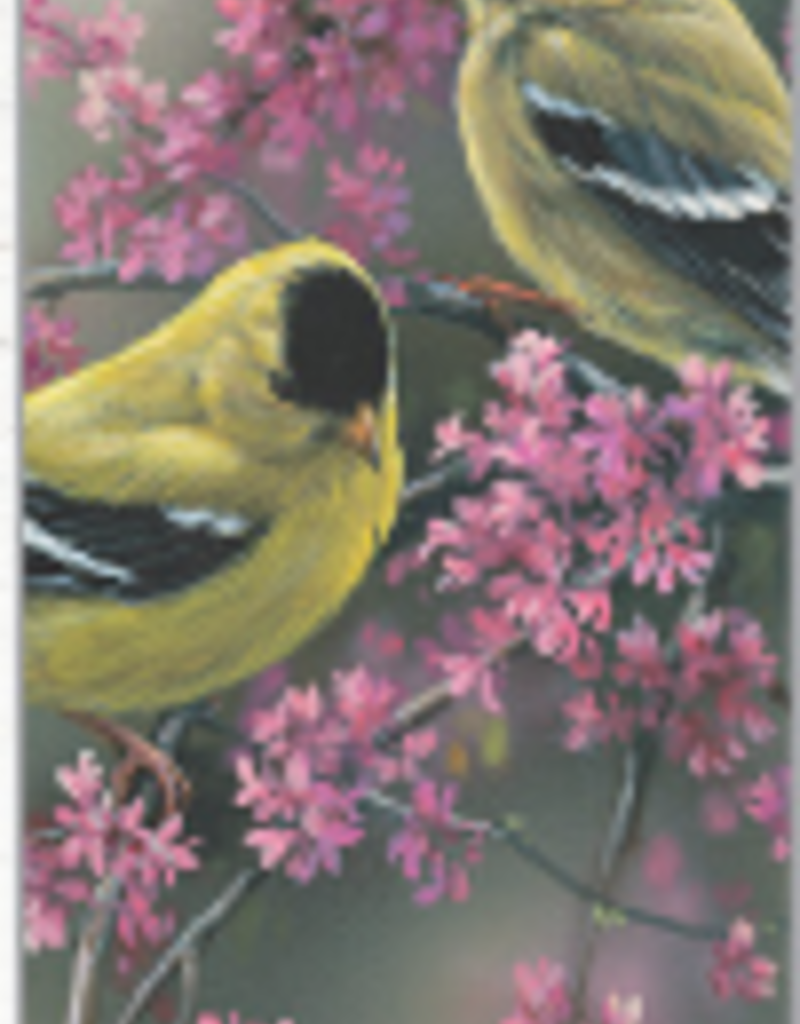 Bookmark - Goldfinches & Redbud