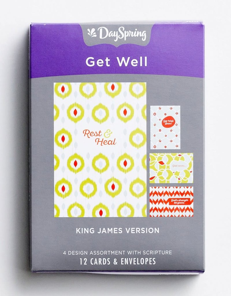 Get Well - Cheerful Patterns - 12 Boxed Cards, KJV