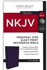 NKJV Comfort Print Reference Bible, Personal Size Giant Print, Imitation Leather, Purple