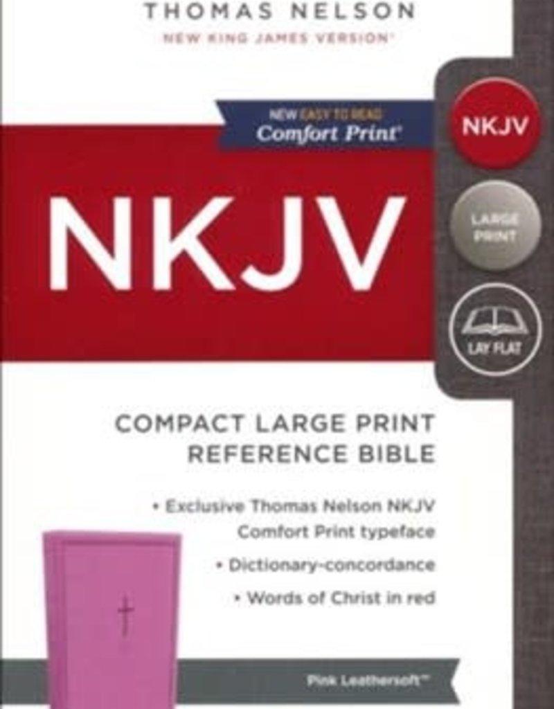 NKJV Comfort Print Reference Bible, Compact Large Print, Imitation Leather, Pink