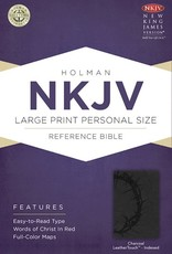 NKJV Large Print Personal Size Reference Bible-Charcoal LeatherTouch Indexed