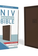 Zondervan NIV Value Thinline Bible/Large Print (Comfort Print)-Chocolate Leathersoft