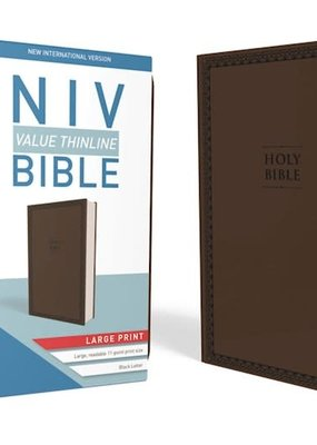 Zondervan NIV Value Thinline Bible/Large Print (Comfort Print)-Chocolate Leathersoft