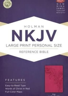 NKJV Large Print Personal Size Reference Bible-Pink LeatherTouch