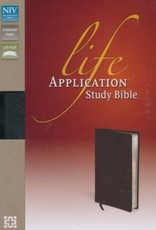 NIV Life Application Study Bible, Large Print, Bonded Leather, Black, Thumb Indexed