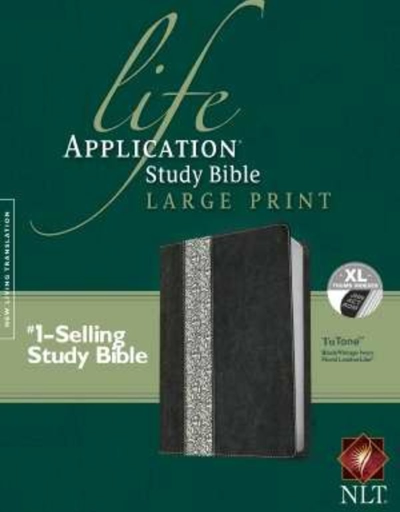 NLT Life Application Study Bible/Large Print-Black/Ivory TuTone Indexed