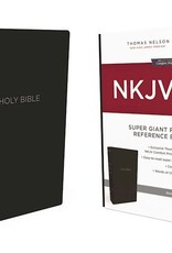 NKJV Super Giant Print Reference Bible (Comfort Print)-Black Leather-Look