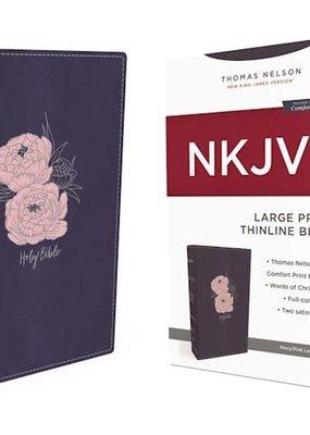 NKJV Thinline Bible/Large Print (Comfort Print)-Navy w/Pink Flowers Leathersoft