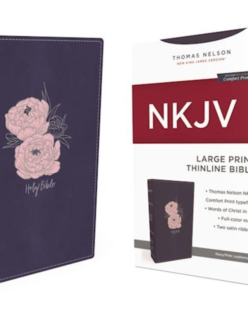 NKJV Thinline Bible/Large Print (Comfort Print)-Navy w/Pink Flowers Leathersoft