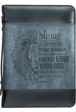 Bible Cover - Large - Be Strong Lion Two-Tone Classic - Joshua 1:9