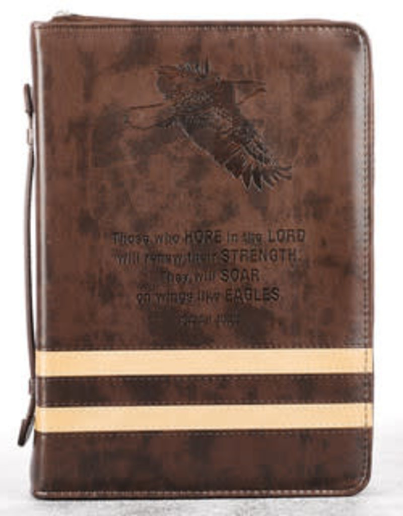 Bible Cover - Medium - Wings Like Eagles Brown Banded Faux Leather Classic - Isaiah 40:31