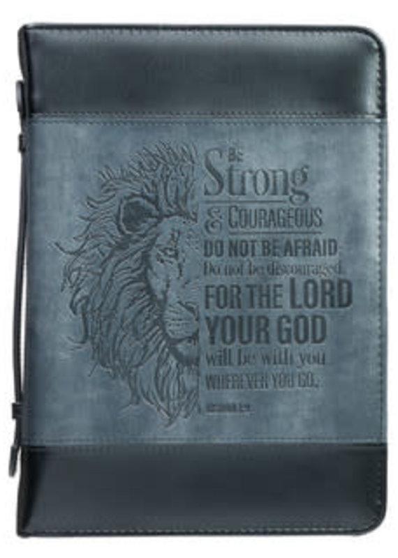 Bible Cover - Medium -  Be Strong Lion Two-Tone Classic - Joshua 1:9