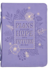 Bible Cover - Medium - Hope and Future Purple Faux Leather - Jeremiah 29:11