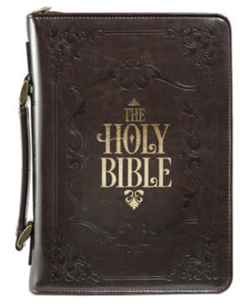 Bible Cover - Medium - The Holy Bible Dark Brown Faux Leather Classic